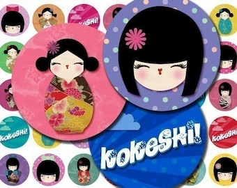 Kokeshi Dolls Digital Collage Sheet - 1 Inch Bottle Cap Images - Instant Download