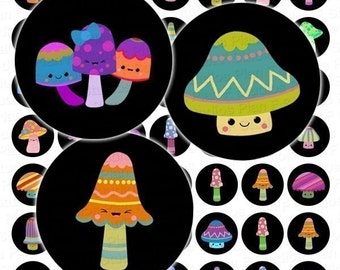 A Digital Collage Sheet of 1 Inch Circles With Cute Kawaii Magic Mushroom Designs - Instant Download