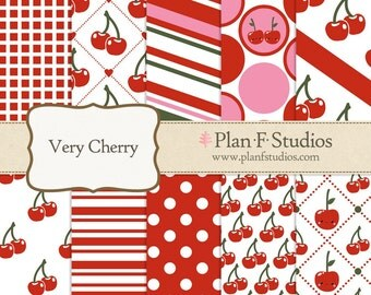 "Very Cherry Digital Paper Set - 12"" x 12"" JPG Images - 10 Sheets - Instant Download"