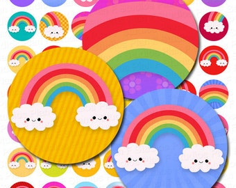 Colorful Kawaii Rainbows Digital Collage Sheet - 1 Inch Bottle Cap Images - Instant Download