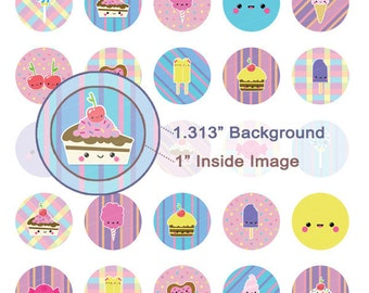 Kawaii Sweets Digital Collage Sheet - 1.313 Inch Circles for 1 Inch Buttons - Instant Download