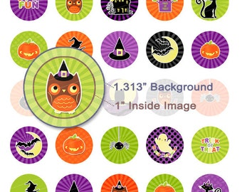 Super Colorful Halloween Digital Collage Sheet - 1.313 Inch Circles - Instant Download