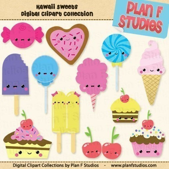 Items similar to Kawaii Sweets Clip Art Collection (For Personal Use ...