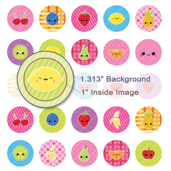 Kawaii Fruits Digital Collage Sheet - 1.313 Inch Circles for 1 Inch Buttons - Instant Download