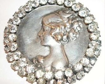 Vintage-ART NOUVEAU Lady Brooch-3 Tiers of 58 Sparkling Rhinestone Border-OFFERS