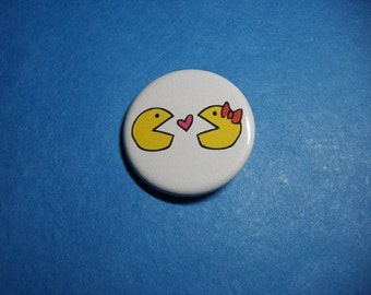 Pac-Man Love Pinback Button (or Magnet)