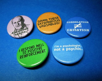 Psychology Geek Pinback Button Set (or Magnets)