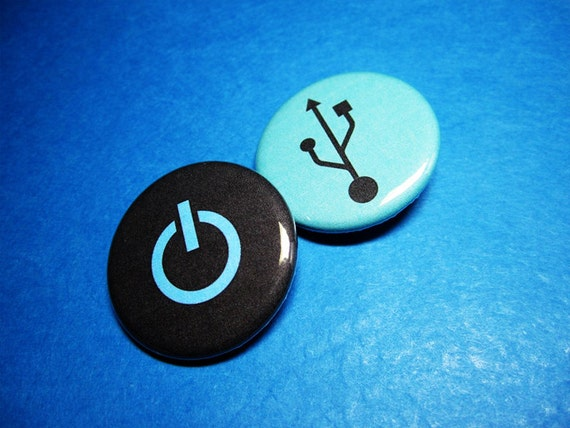 Computer Geek USB and Power Pinback Buttons (or Magnets)