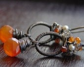 Beltane Earrings- Carnelian, Pearls, Smokey Quartz