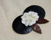 LILY PAD CLIP - Laser Cut leather, Vintage Bridal Lace, Flip Clip