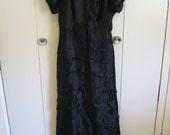 Vintage 1940's Long Black Satin Dress Short Train