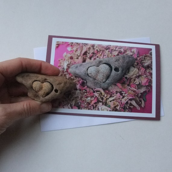 The perfect match - natural Love rocks found by me. photo card 4x6.