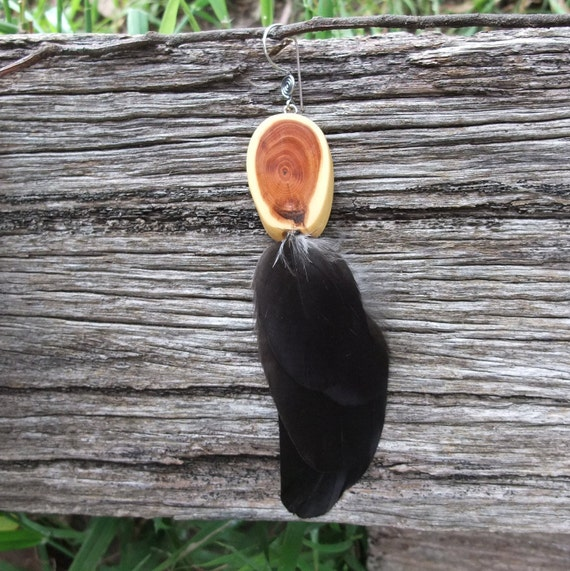 Single feather earring, Crow feather & Yew wood one off a kind - eco friendly - magical creation
