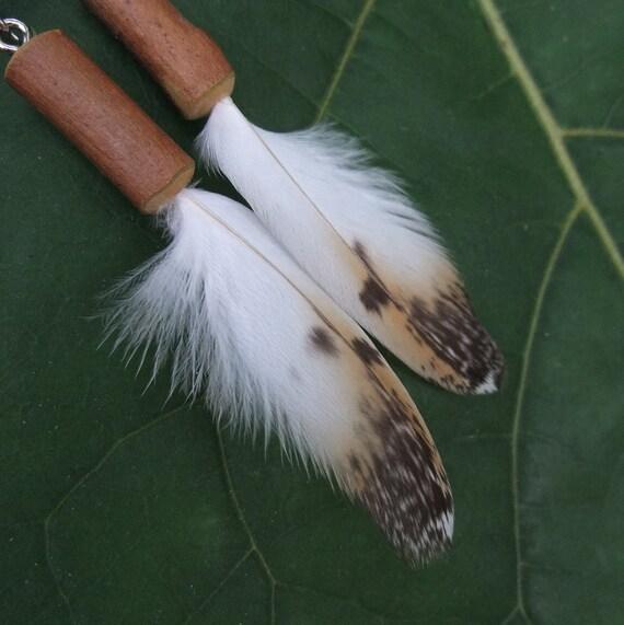 Feather Earrings Barn Owl wood - eco friendly &  handmade with love