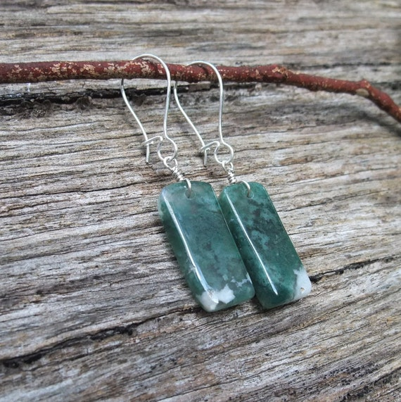 Gem stone earrings  - Moss Agate - unique handcrafted in Australia