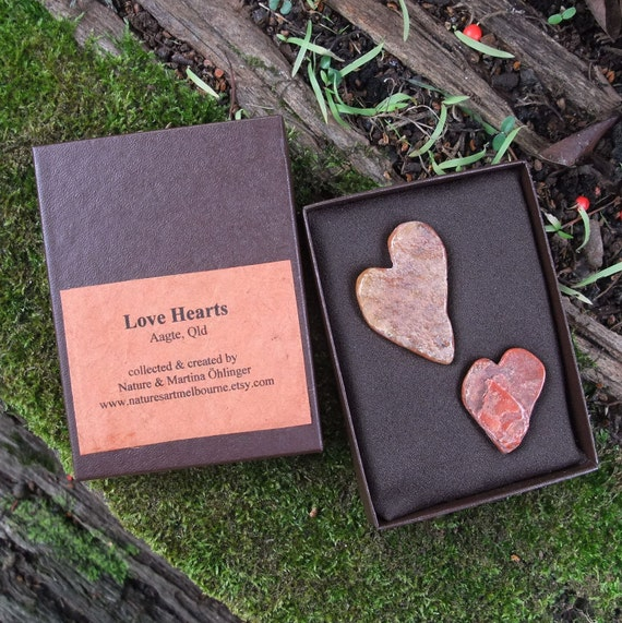 reserved listing ---   Heart stones in gift box  - eco friendly & handmade with love
