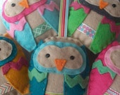 BULK BUY six handmade felt OWL ornaments decorations