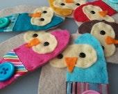 BULK BUY twelve handmade felt OWL EMBELLISHMENTS