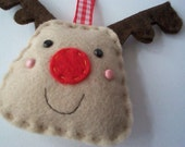 BULK BUY 12 handmade REINDEER felt christmas decorations WHOLESALE
