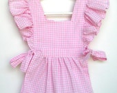 Toddler Ruffled Pale Pink And White Gingham Apron Pinafore