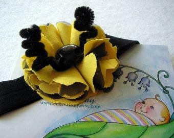 Bumble Bee Toddler Floral Antenna Headband