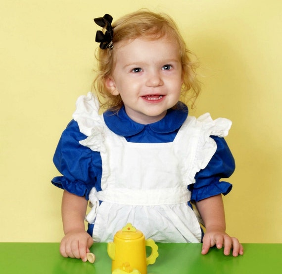 Ruffled White Apron Pinafore -Alice in Wonderland  - 1T, 2T, 3T Available