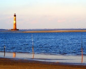 Fishing at the Lighthouse - Nautical Beach Folly South Carolina Photography Morris Island Charleston Blue Fine Art Print - 8x10 Photograph