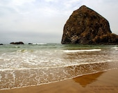 Haystack Rock - Oregon Goonies Coast Photography Beach Brown Ocean Fine Art Metallic Print - 8x10 Photograph