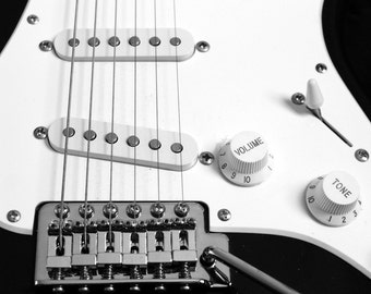 Electric Guitar - Black and White Music Photography Musician Guitarist Rock and Roll Heavy Metal Fender Fine Art - 8x10 Photograph