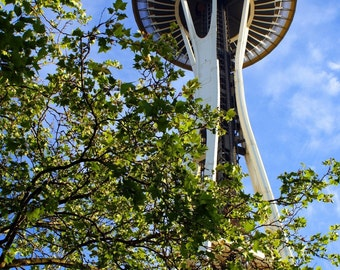 Needle in the Sky - Space Needle Seattle WA Photography Washington Tower Blue Green Travel Fine Art Print - 8x10 Photograph