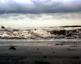 The Rough Sea - Nautical Ocean Dark Stormy Waves Photography Clouds Beach Grey Gray Fine Art Lustre Print - 5x7 Photograph