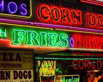 Fair Food - Neon Carnival Photography Corn Dog Fries Pizza Sign Words Font Fine Art Print - Photograph