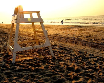 Lifeguard - Beach Sunrise Sunset Photography Gold Yellow Sand Fine Art Nautical White Black Chair Lustre Print - 8x10 Photograph