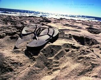 Shimmer - Beach Flip Flops Photography Blue Brown Sand Nautical Sparkle Fine Art Lustre Print - 8x10 Photograph