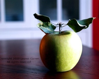 One A Day - Apple Granny Smith Photography Farm Orchard Green Brown White Fine Art Lustre Print - 5x7 Photograph