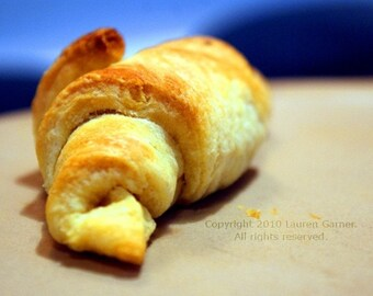 Flake - Croissant French Photography Yellow Blue Food Baked Goods France Bakery Bread Fine Art Lustre Print - 5x7 Photograph