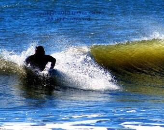 Catch a Wave - Surfer Photography Folly Beach Charleston Ocean South Carolina Blue Green White Black Fine Art Print - 5x7 Photograph