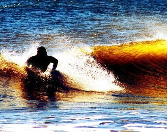 Catch a Wave - Surfer Ocean Folly Beach Photography SC South Carolina Yellow Blue Black White Fine Art Print - 5x7 Photograph