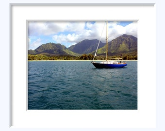 Hanalei Bay - Kauai Hawaii Photography Sailboat Blue Ocean Island Tropical Descendants Art Mountains Boat - 8x10 Photograph