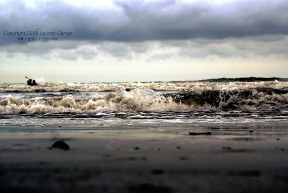 The Rough Sea - Nautical Ocean Dark Stormy Waves Photography Clouds Beach Grey Gray Fine Art Lustre Print - 5x7 Photograph