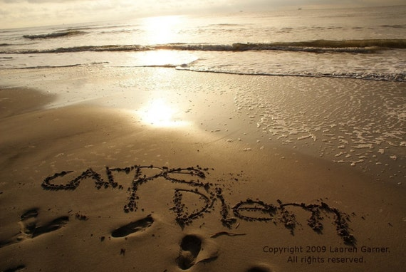 Carpe Diem - Written in the Sand Photography Brown Mocha Beach Neutral Beige Nautical Fine Art Print - 8x10 Photograph