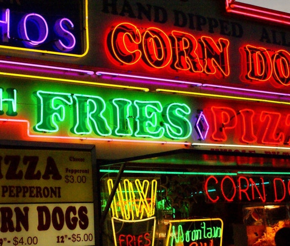 Fair Food Neon Carnival Photography Corn Dog Fries Pizza