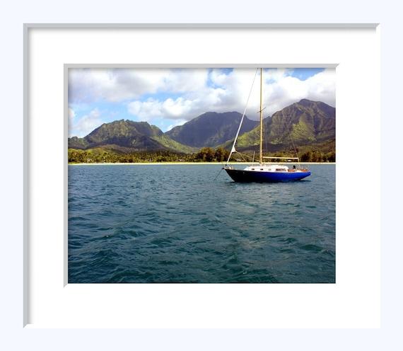 Hanalei Bay - Kauai Hawaii Photography Sailboat Blue Ocean Island Tropical Descendants Art Mountains Boat - 8x10 Photograph