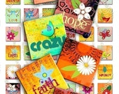 BUY THREE Get One FREE - CRAZY - 48 different images 1x1 inch squares for pendants and more - Download and Print Digital Collage Sheet - You can print it as many time as you need -
