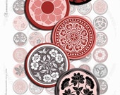 Digital collage sheets ROMANTIC PINK 1 inch round circle images printable images for circle pendants and magnets / T147