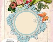 Digital sheets   ELEGANT LABELS   atc aceo scrapbooking art  jpg and png files rose flower gift tag / TL107