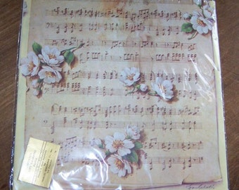 Vintage Sheet Music Flowers gift wrap wrapping paper