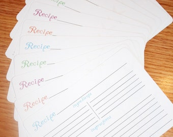 Recipe Cards - Flower Recipe Cards - Cute Recipe Cards - Colorful Recipe Cards - set of 12