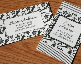 Calling Cards, Business Cards, Black Floral Calling Cards, Mommy Cards, Social Cards, Black Floral Pattern - set of 50