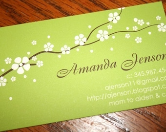 Calling Cards, Business Cards, Mommy Cards, White Blossoms on Green Calling Cards, Floral Branch Calling Cards - set of 50